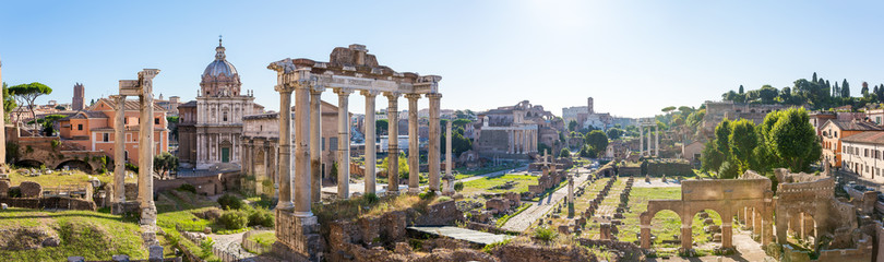 Poster Ruine Forum Romanum view from the Capitoline Hill in Italy, Rome. Pano