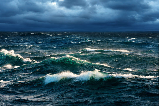 Breaking Waves at Rising Storm
