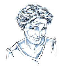 Hand-drawn vector illustration of naive blameworthy woman. Monoc