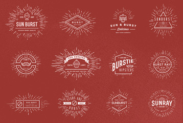 Sun burst vintage shapes collection set of sun ray frames retro vector design elements