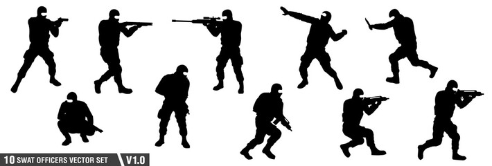10 swat officers silhouette vector set v.01