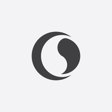 ying yang cutted identity template icon