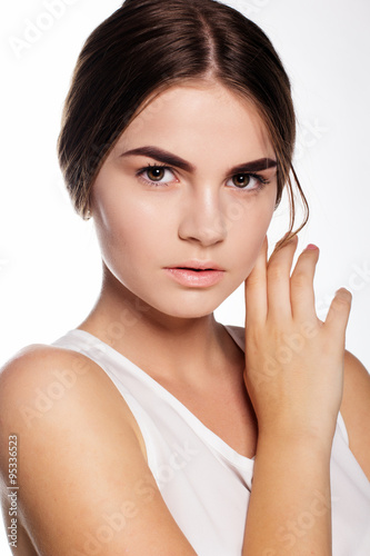 Beautiful young girl with nude makeup Stock photo and
