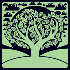 Art vector graphic illustration of stylized branchy tree and pea