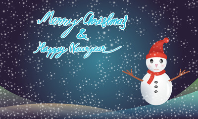 Merry christmas and happy newyear with snowman