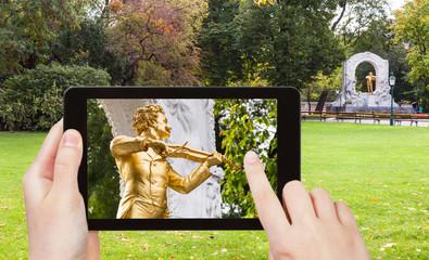 snapshot of Johann Strauss monument in Vienna