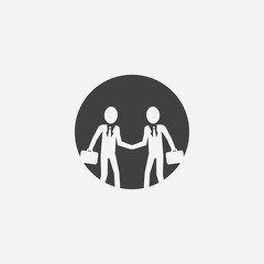 businessmen shaking hands cut identity template icon