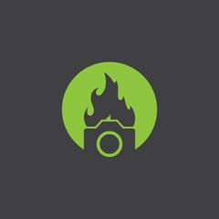 camera flame cut identity template icon