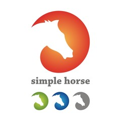Simple Horse Circle Logo Design Silhouette