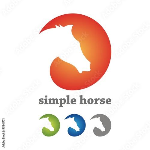 quotsimple horse circle logo design silhouettequot immagini e