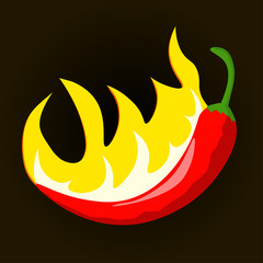 Hot Chili pepper with flames