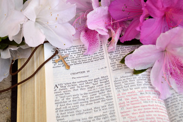 Open Bible Easter background