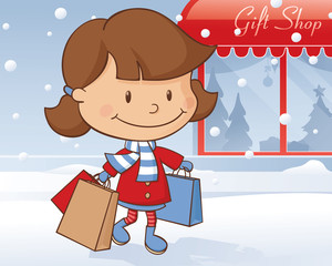 Winter Day Shopping Girl