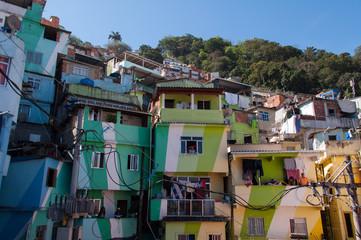 Colorful Houses of Santa Marta Community in Rio de Janeiro