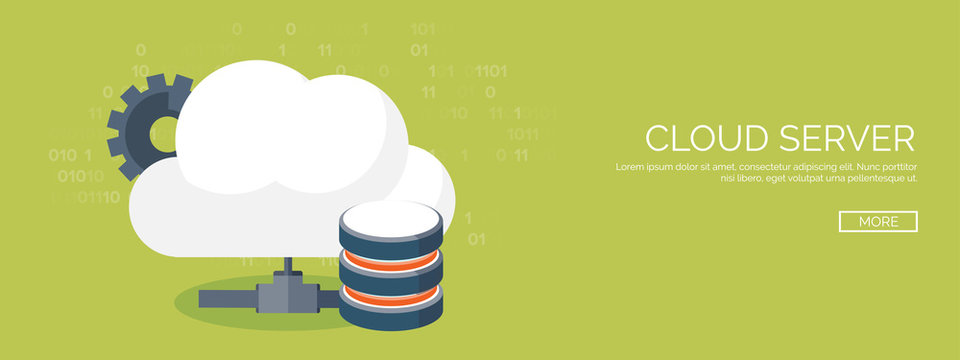Vector illustration. Flat cloud computing background. Data storage network technology. Multimedia content and web sites hosting. Memory, information transfer