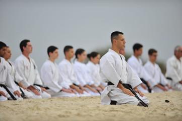 Karate training on the sand