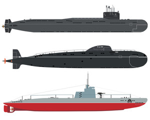 Set of isolated military submarines of old and new on a white background. Vector illustration