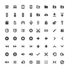 vector solid monochrome software icons set.