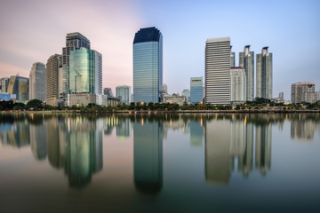 panorama photography of Large buildings cityscape in Bangkok , Thailand .