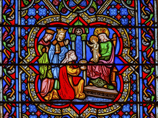 Three Kings Mary Jesus Stained Glass Notre Dame Cathedral Paris