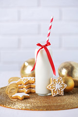 Beautiful composition with Christmas cookies and milk