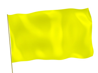 Yellow 3d flag on white background