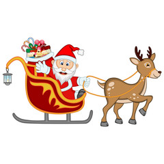 Santa Claus Moving On The Sledge With Reindeer And Brings Many Gifts