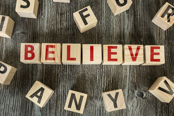 Wooden Blocks with the text: Believe