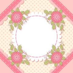 Cute flower photo frame. Baby shower card. Scrapbook elements. Vector illustration.