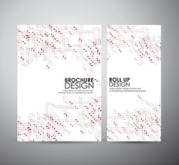 Abstract hi-tech brochure business design template or roll up. Vector illustration