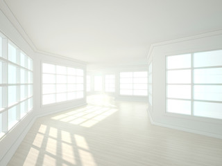 3d illustration of empty white modern interior