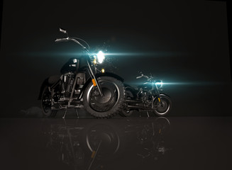 Two old vintage motorcycles on black background.