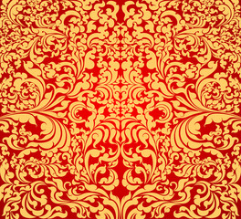 Gold floral art pattern on red background
