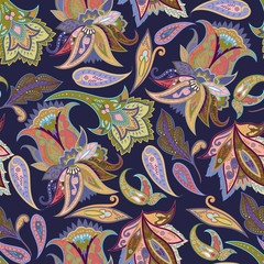 Fantasy flowers seamless paisley pattern. Floral ornament, for wrapping, wallpaper, textile
