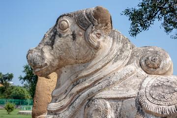 India, Nandi bull at entrance of old Hindu temple, Kanchipuram