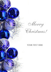 Christmas bright blue decorations on white background