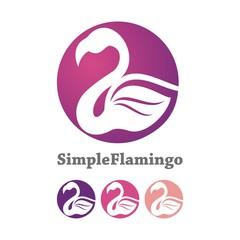 Simple Flamingo Cicrle Logo Design