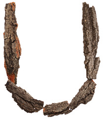 Alphabet from bark tree isolated on white background. Letter U