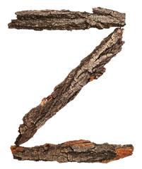 Alphabet from bark tree isolated on white background. Letter Z