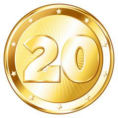 Twenty Year Anniversary - Round Gold Badge