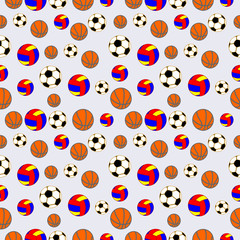 Seamless vector pattern, background with elements of colorful balls for football, volleyball and soccer