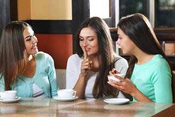 Beautiful girls gossip in cafe