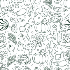 Seamless vector pattern fruits and vegetables