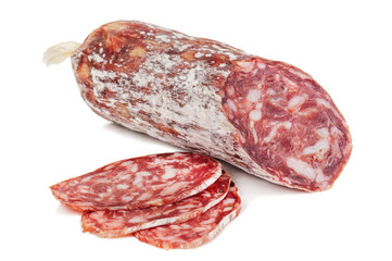 isolated delicious salami