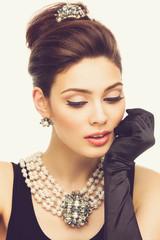 Closeup of stylish girl