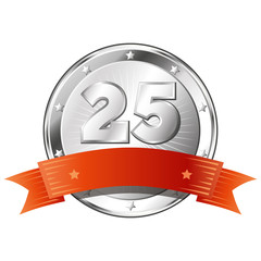 Twenty-Five Year Anniversary - Round Silver Badge with Red Ribbo
