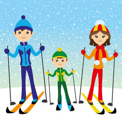 Happy family skiing.
