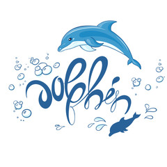 vector hand drawn printable lettering illustration with jumping dolphin, bubbles and splash. Can be printed on t-shirts, pillow, poster, mug, bag
