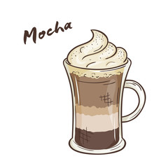 vector printable illustration of isolated cup of mocha with label