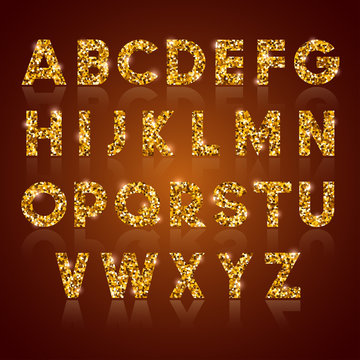 Luxury alphabet letters set with silver glitter texture, shiny and glowing. Vector illustration.